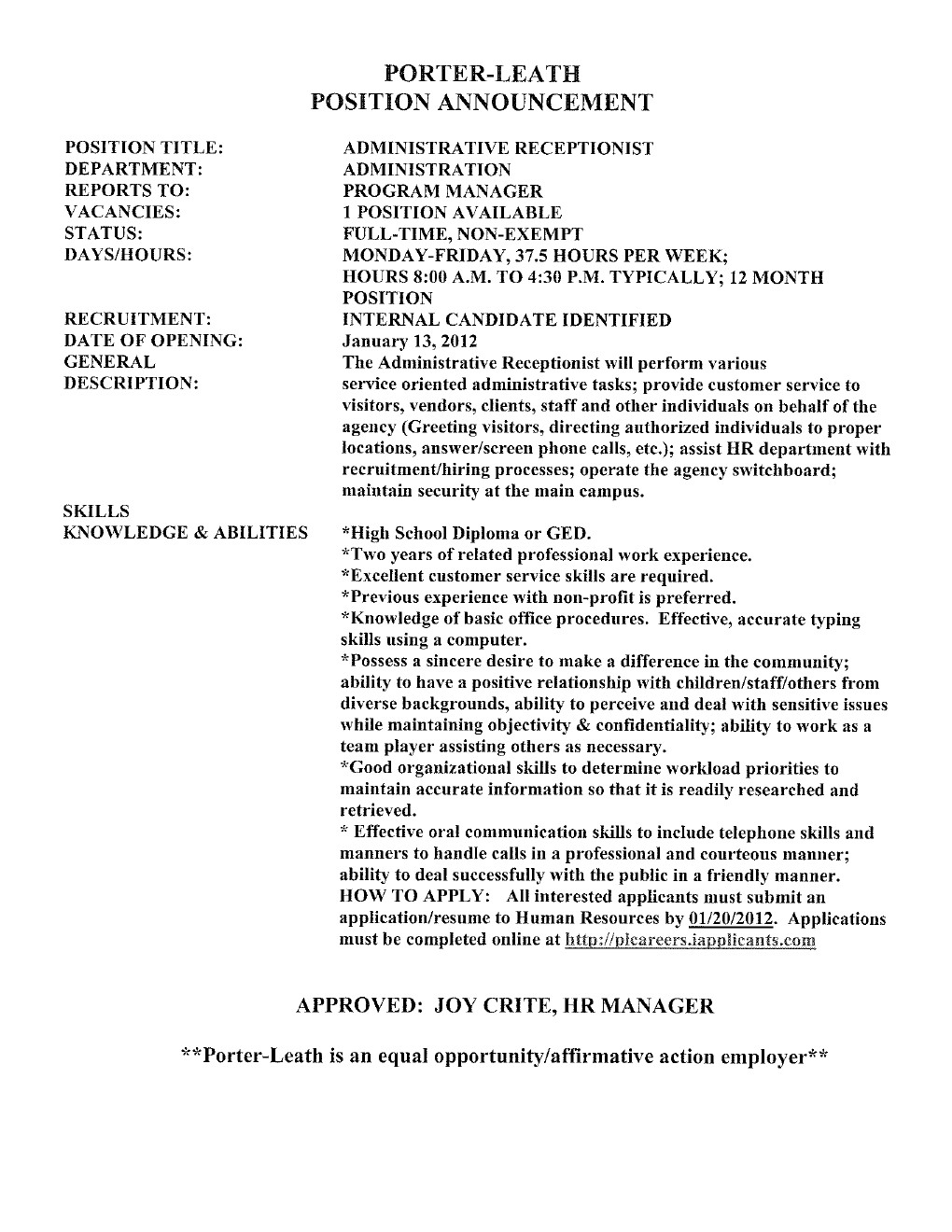 Cover Letter For Receptionist In Medical Field