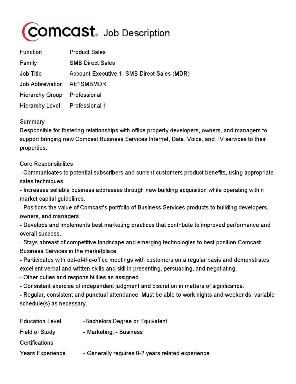 comcast cable technician job description