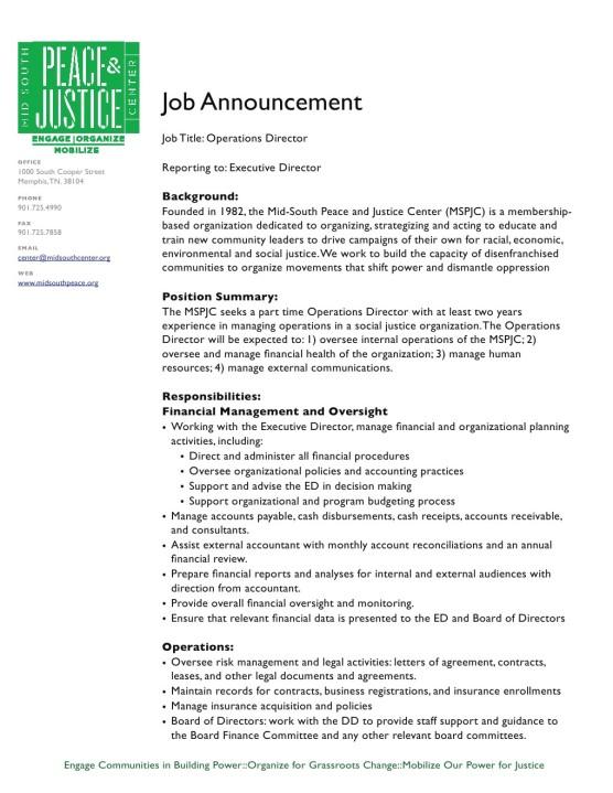 Job Opening Mid South Peace Justice Center Job Career News