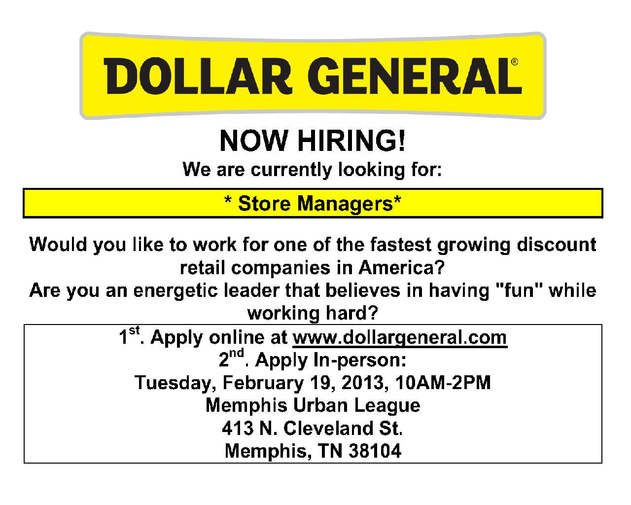 dollar general job fair memphis urban league 2 19 13 job dollar general job fair at memphis urban league flyer 020413 2 1