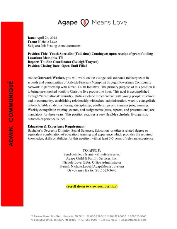 Agape Admin Communique-Job Posting Annoucements-042613_1