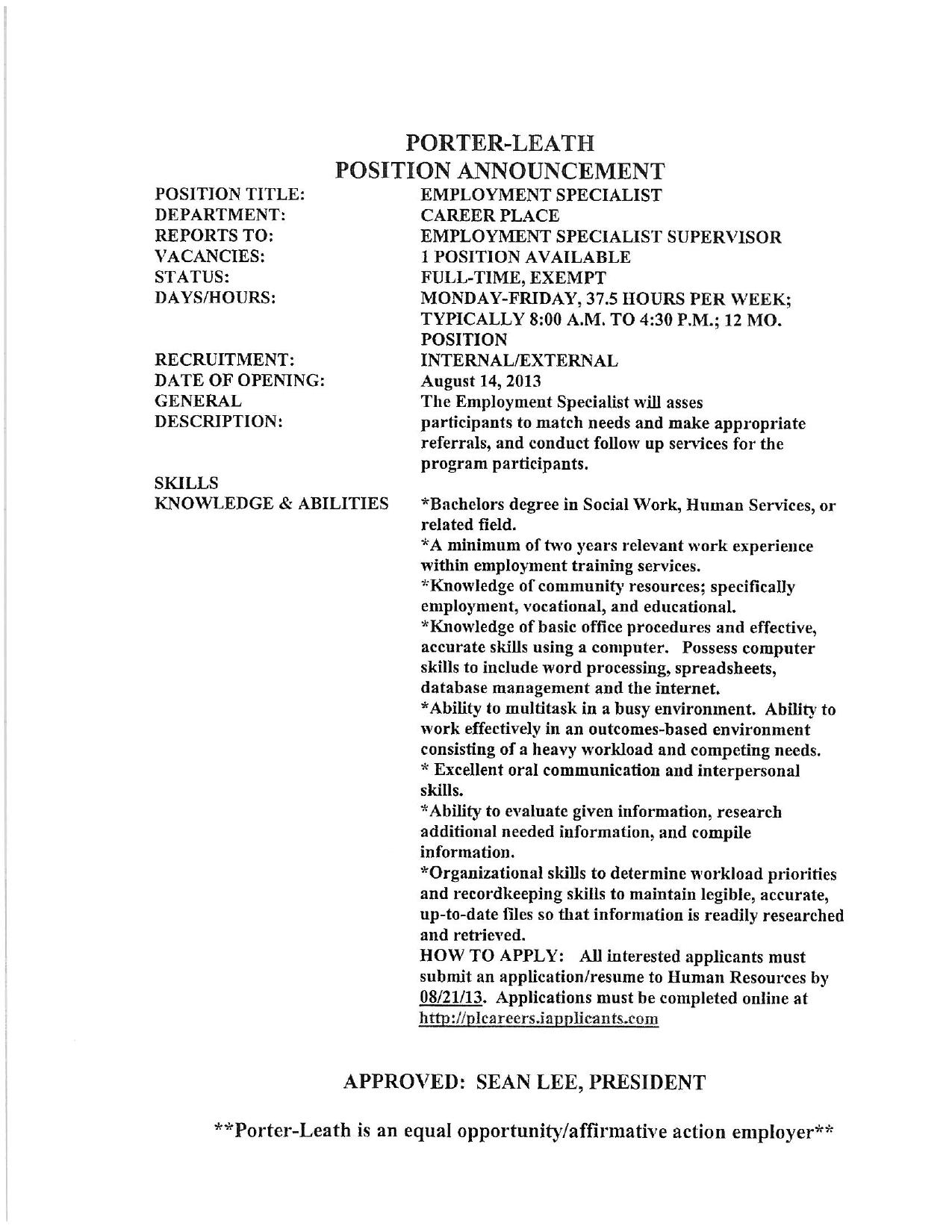 employment specialist and teacher openings porter leath