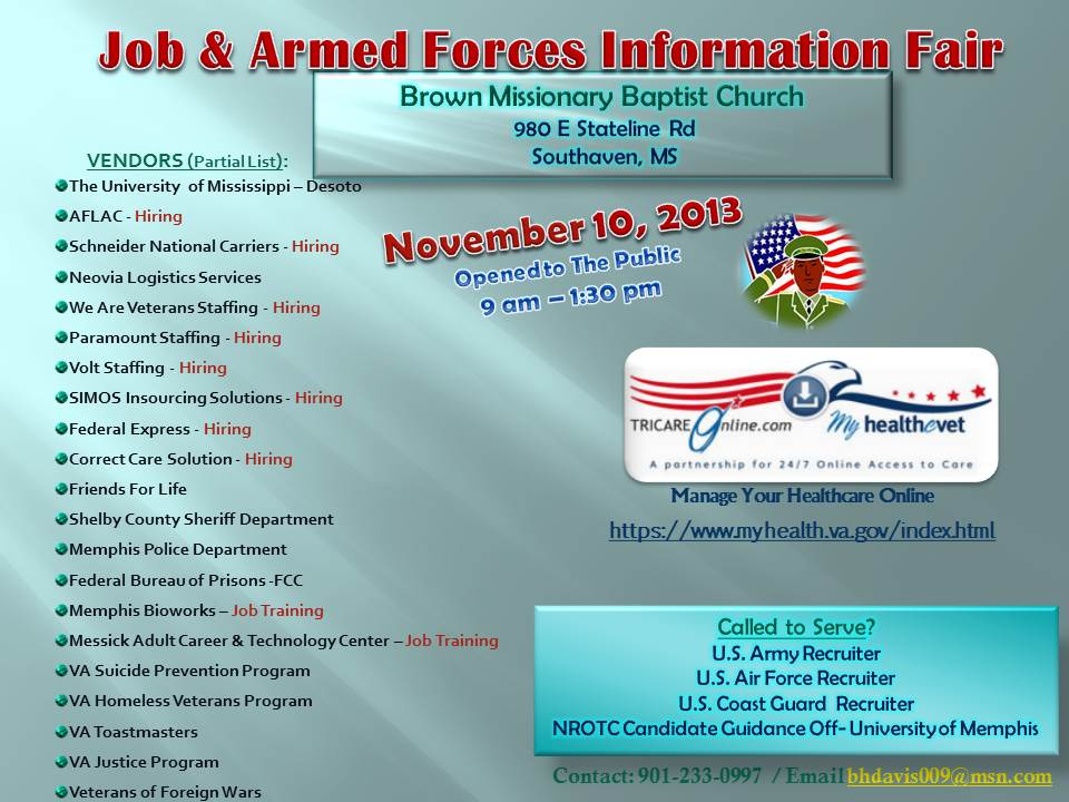 2013 Job & Armed Forces Info Flyer Brown Baptist
