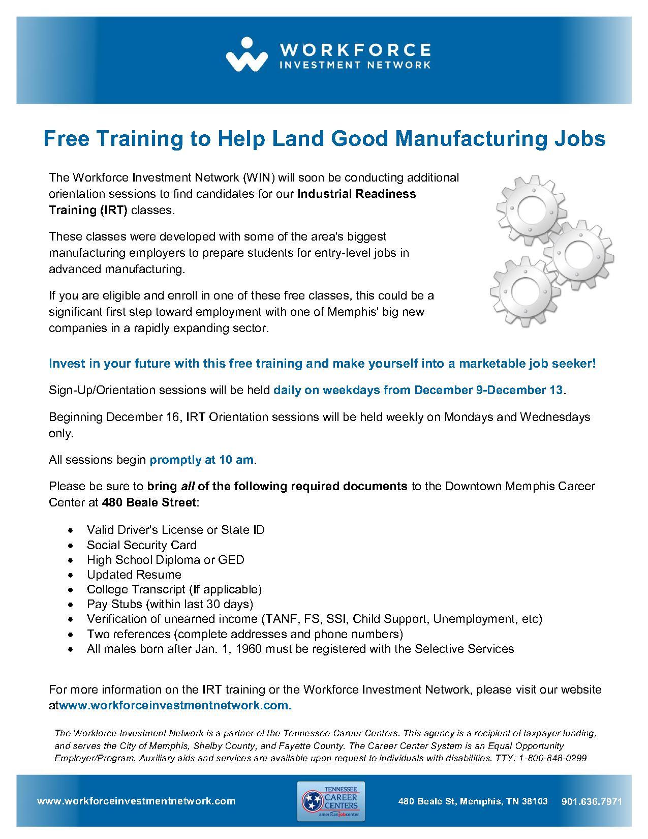 WIN Industrial Readiness Training IRT