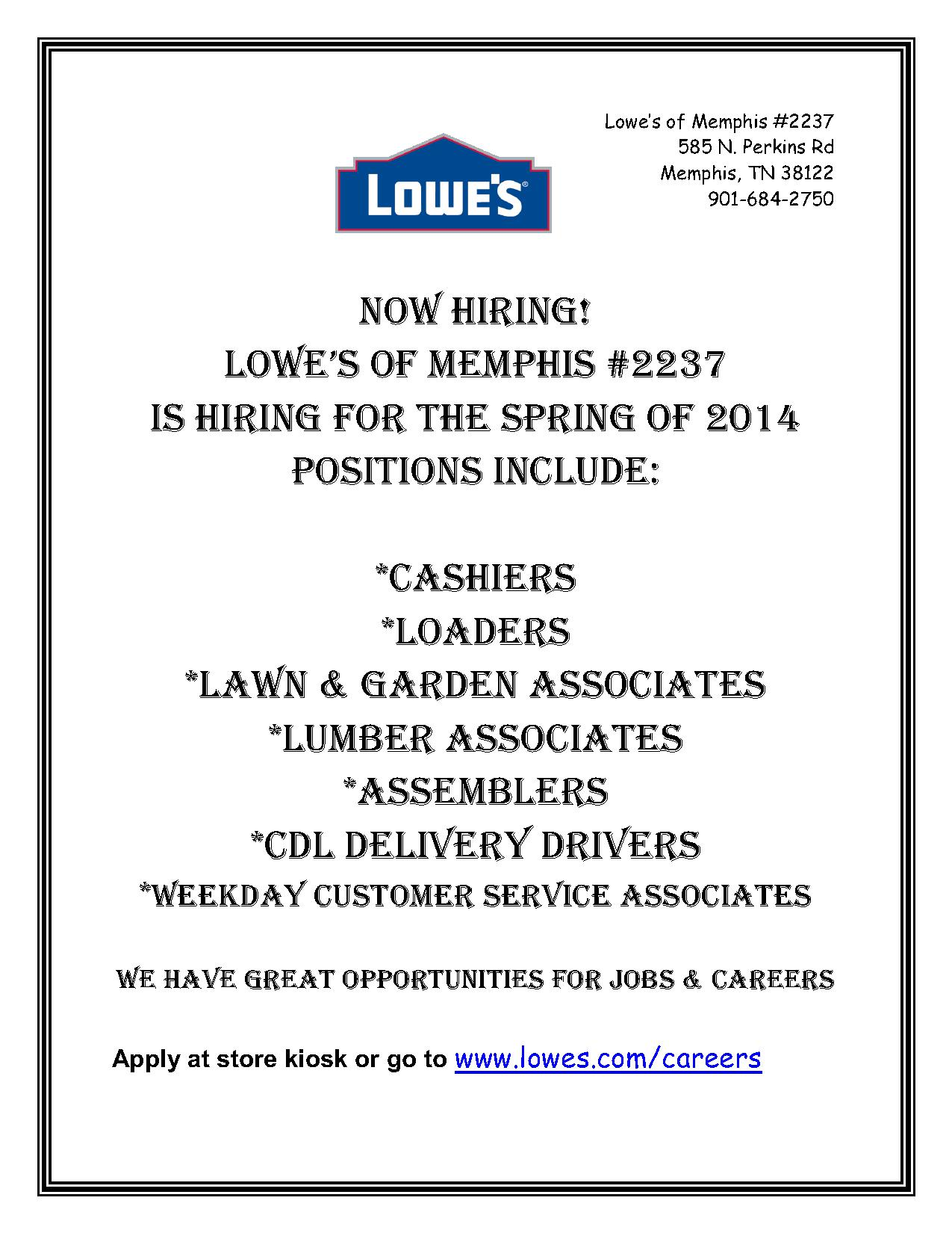 lowe s of memphis is hiring job career news from the memphis lowes 2014 hiring flyer middot lowes 2014 hiring flyer 1