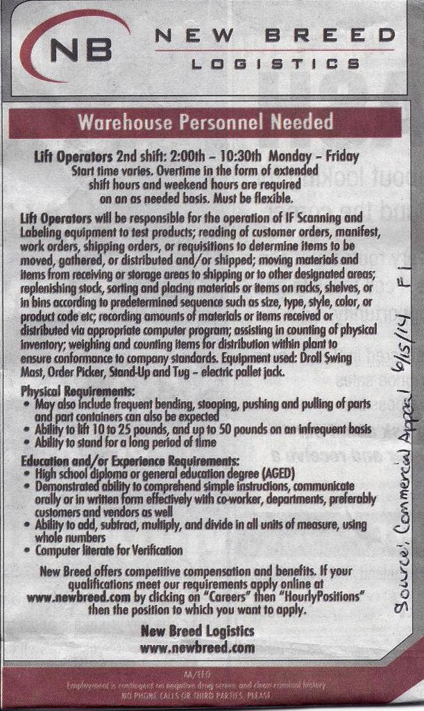 new breed logistics job career news from the memphis public
