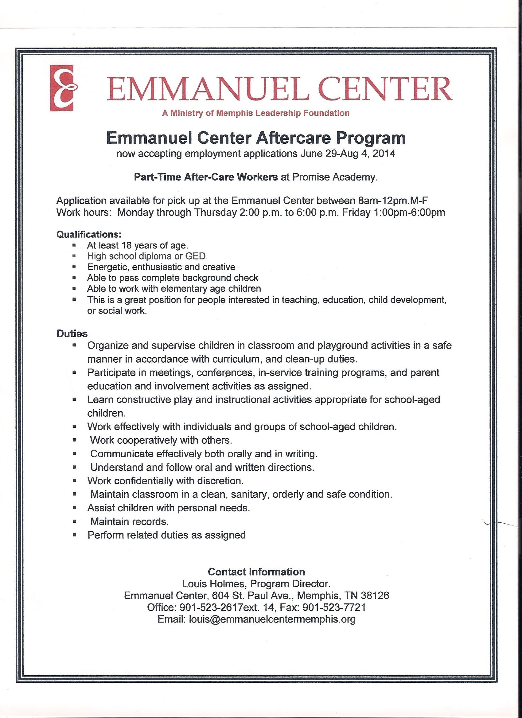 Child care job career news from the memphis public libraries after care workers emmanuel centers promise academy 1betcityfo Image collections