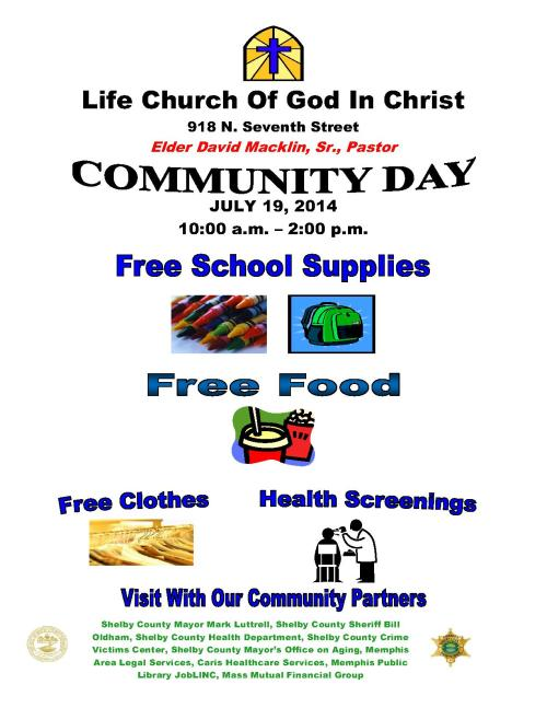 Life COGIC Church Community Day flyer 7-19-14_1
