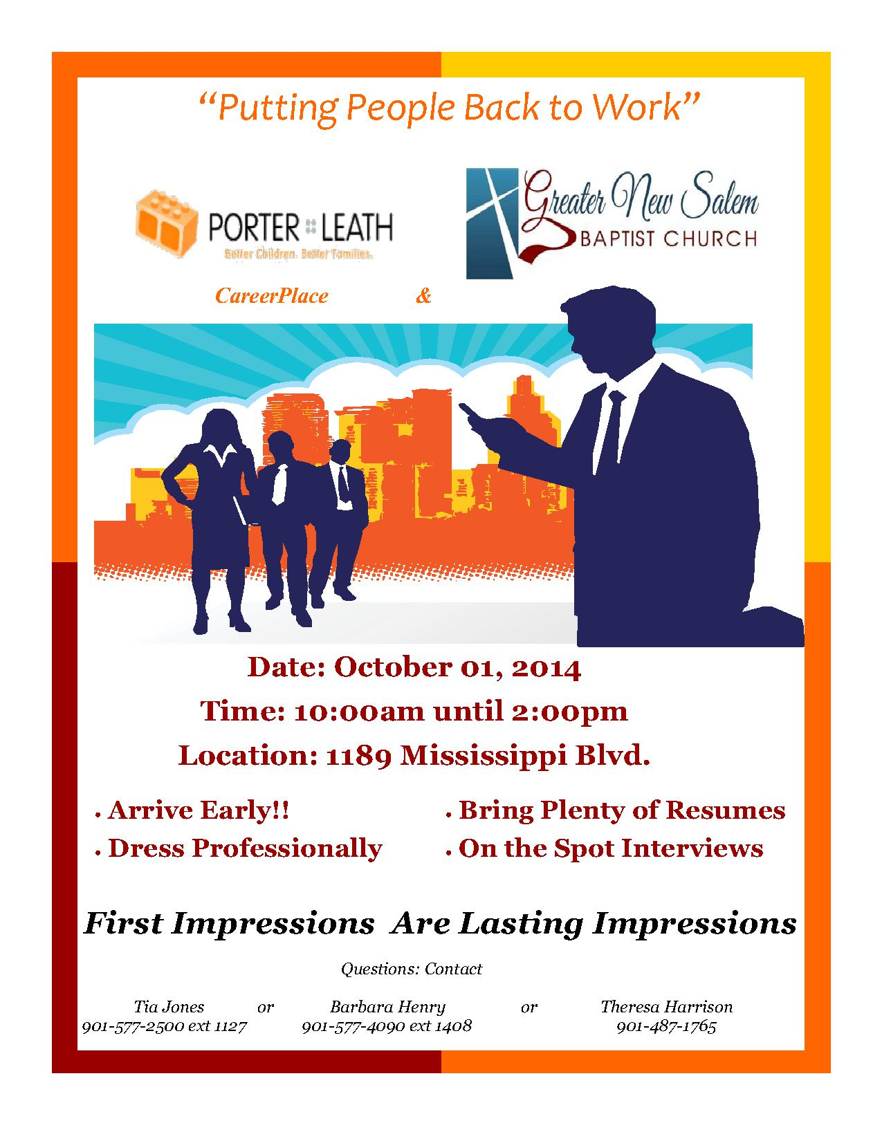 job fair 10 1 14 sponsored by porter leath career place porter leath job fair flyer 10 01 2014 1