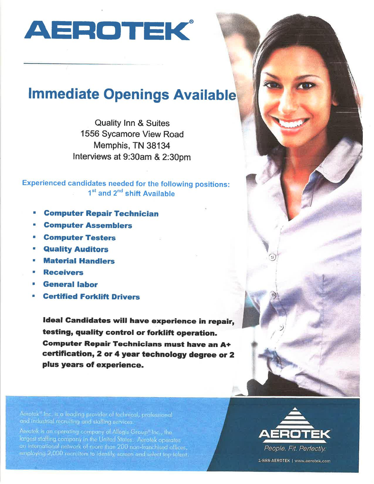 18 december 2014 job career news from the memphis public job openingsinterviews aerotek falaconquin