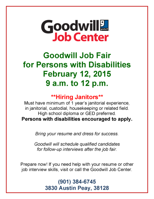 Goodwill Janitor Job Fair 2-12