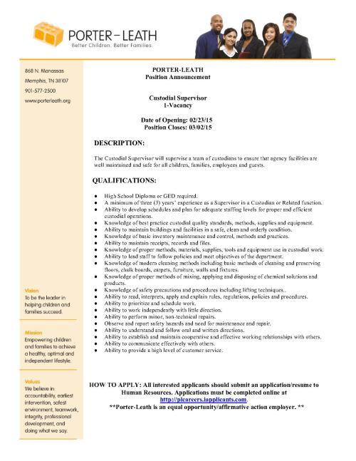 Porter Leath CustodialSupervisor-External Posting_1
