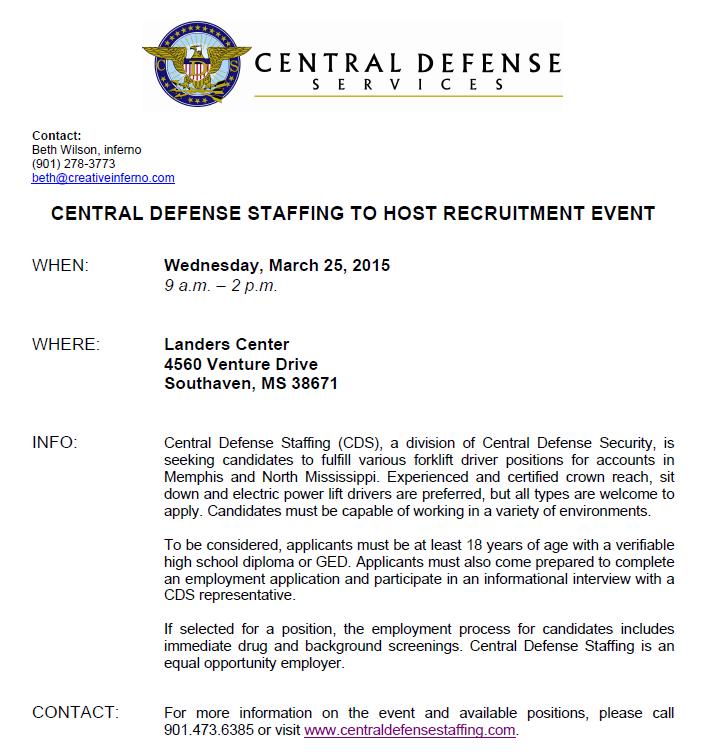 Central Defense Staffing Job Fair For Forklift Drivers 32515