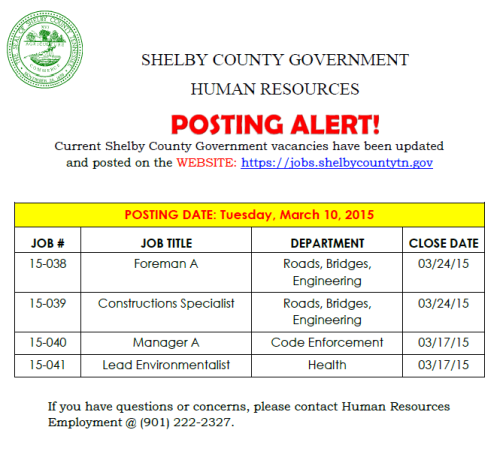 Shelby County Jobs 3-10-15