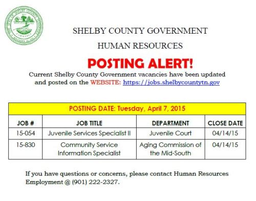 Shelby County Jobs 4-7-15