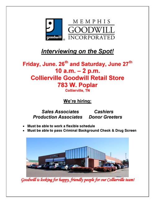 Goodwill collierville job fair