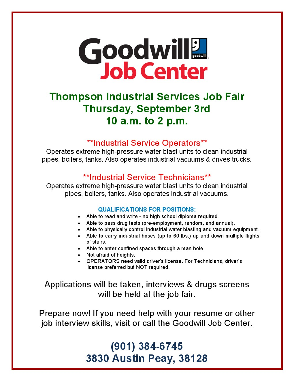 thompson industrial services job fair september 3 job career