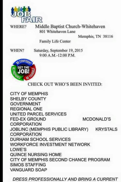 Middle Baptist Job Fair 9-19-15