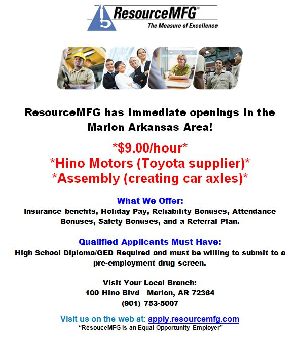 Resource mfg marion ar openings for hino motors job for Hino motors marion ar