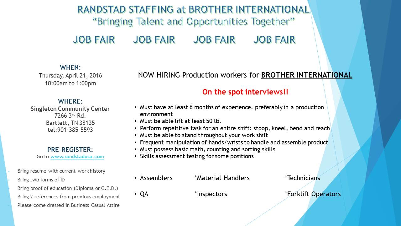 Brother International via Randstad Job Fair 4/21/16 | Job & Career ...