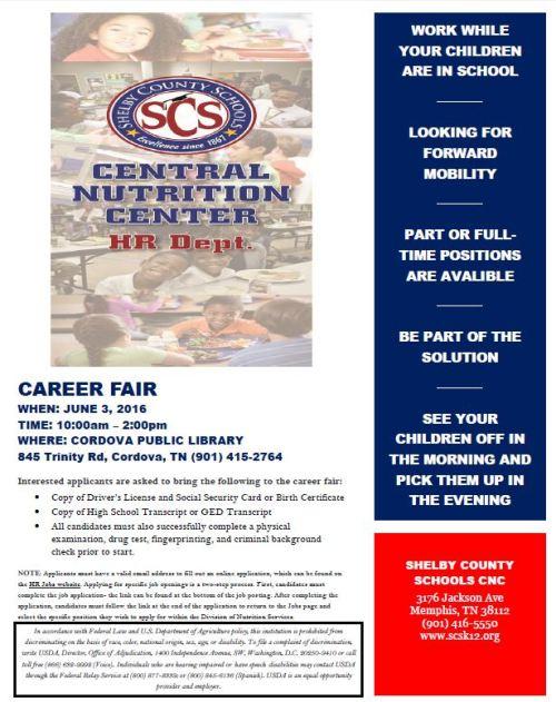 SCS Nutrition Career Fair  June 3 2016 Cordova