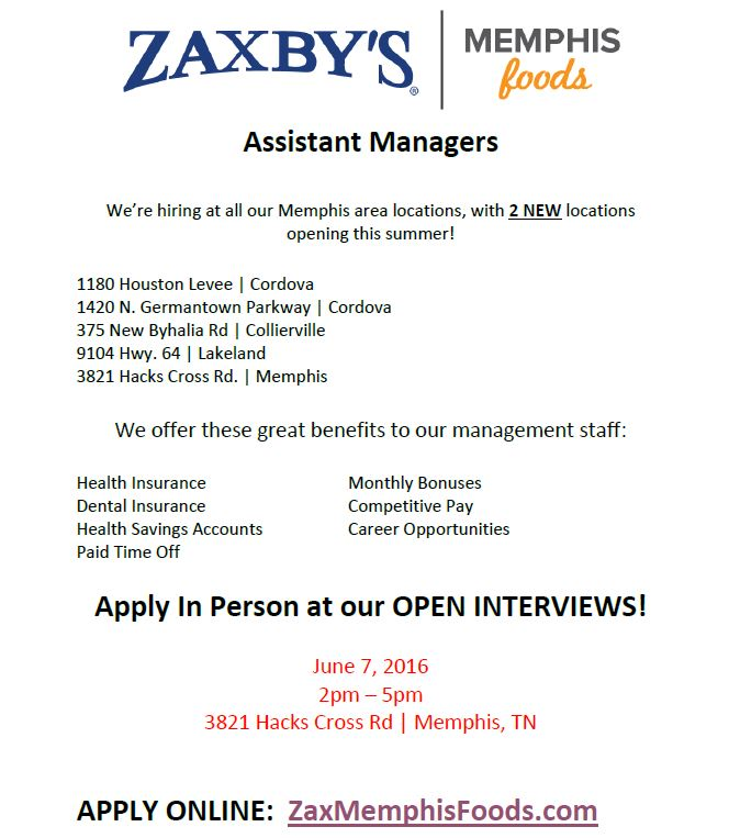 Zaxby's Open Interviews 6/7/16 | Job & Career News from the Memphis ...