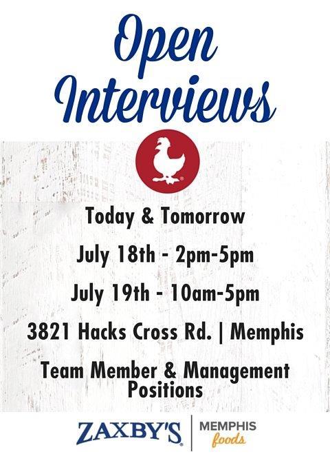Open Interviews Zaxbys Collierville
