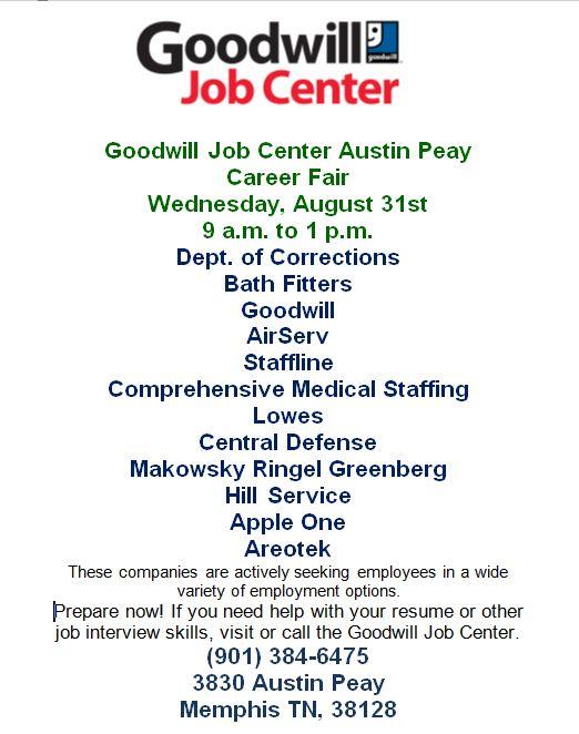 Goodwill Job Center Career Fair 8 31 16 Job Amp Career