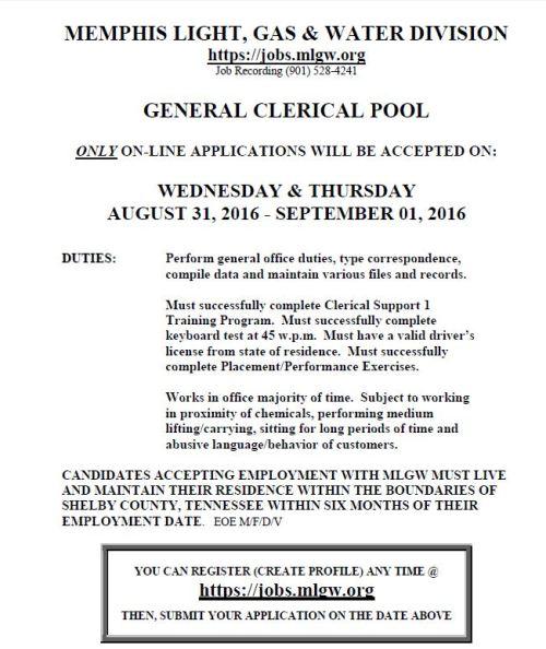 mlgw clerical pool