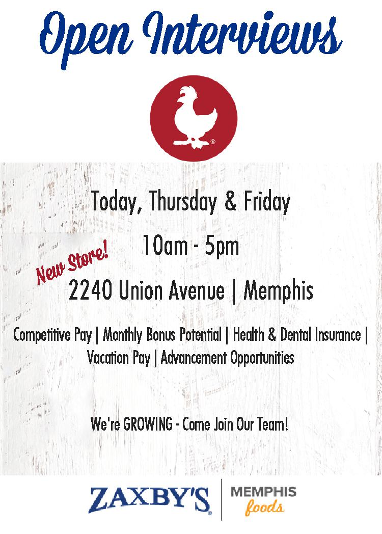 Zaxby's-Union Ave. – Open Interviews 10/12-10/14 | Job & Career News ...