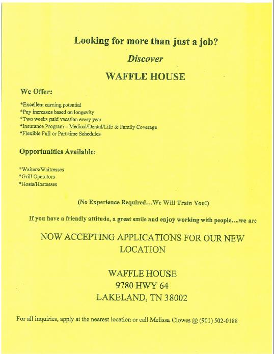 Waffle House Will Provide Training.