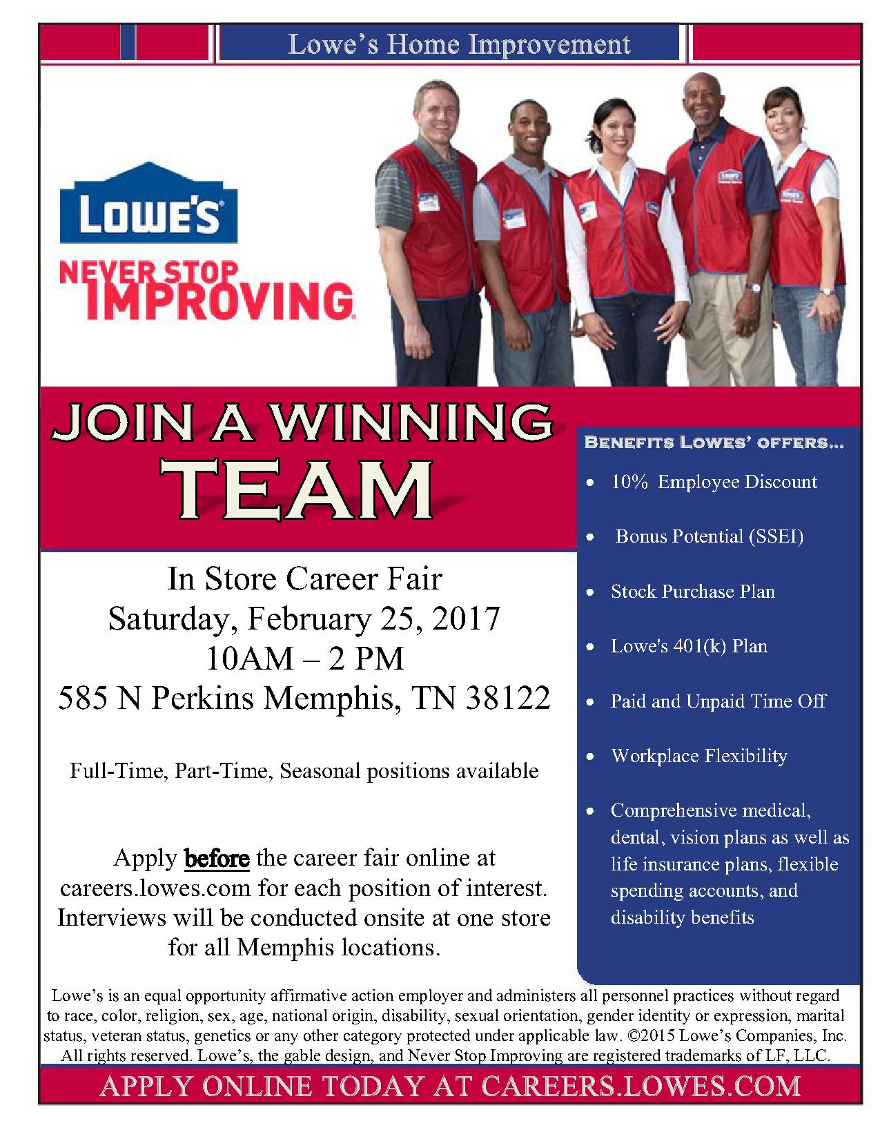 Lowes Employee Benefits >> Lowe S Career Fair 2 25 16 10 2 Job Career News From The
