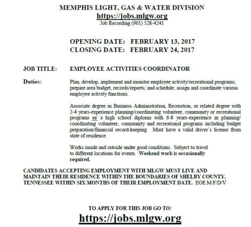 mlgw hiring for employee activities coordinator job career news