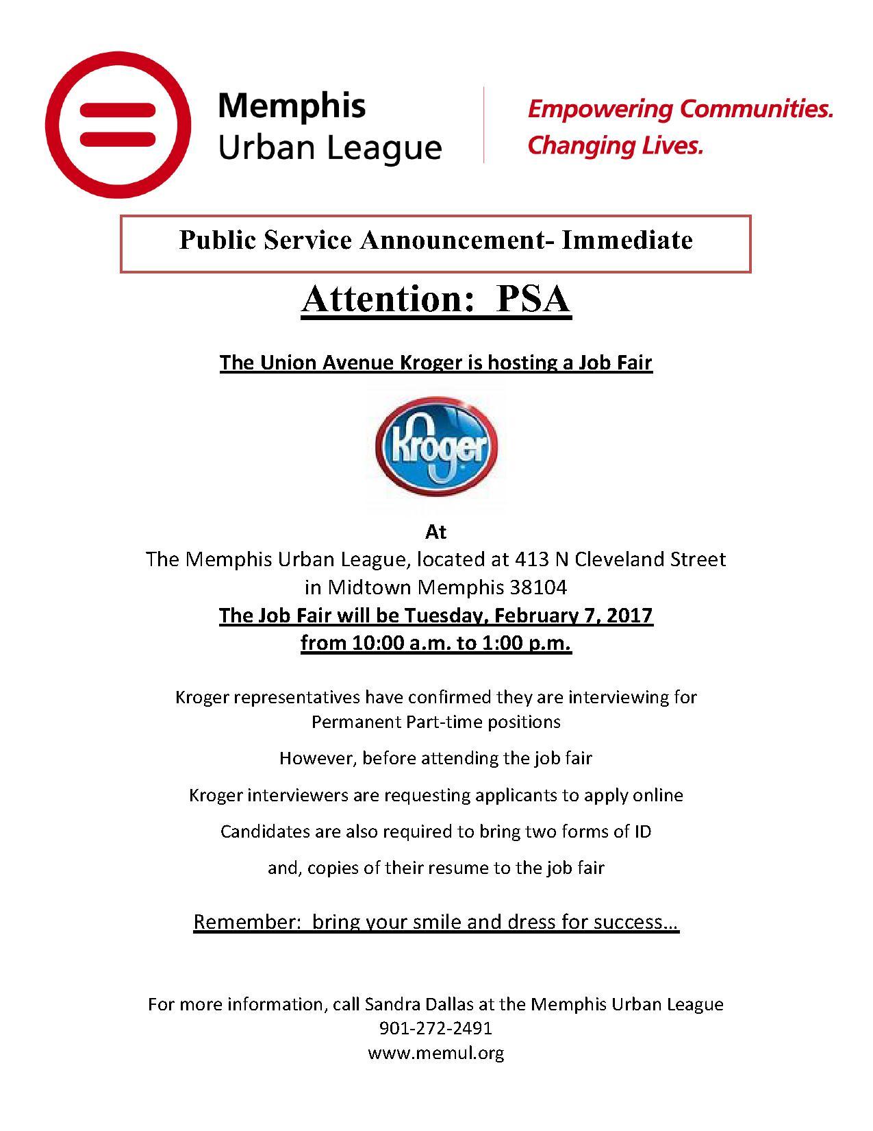 Kroger – Union Job Fair 2/7 @ Urban League | Job & Career News ...