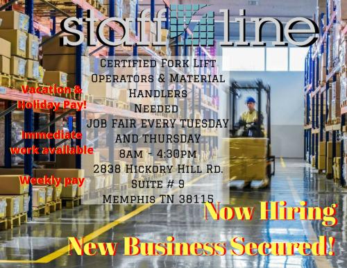 Job fair every Tuesday & Thursday - Staffline