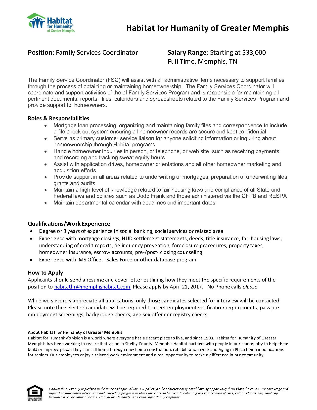 Family Services Coordinator Habitat For Humanity Job