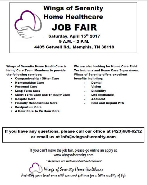 wings of serenity home healthcare job fair on saturday, april 15, Human Body