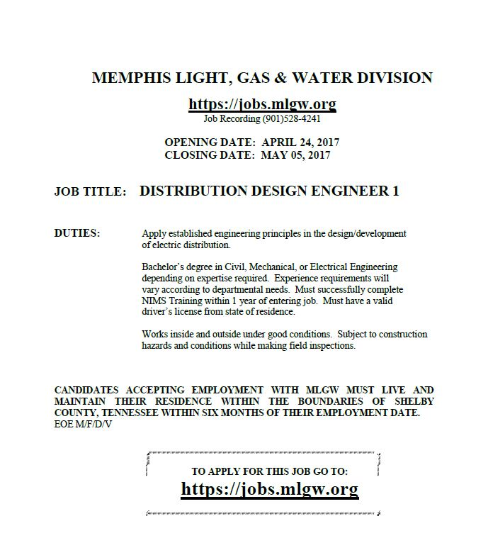 Mlgw Distribution Design Engineer Job Career News From The Memphis Public Libraries