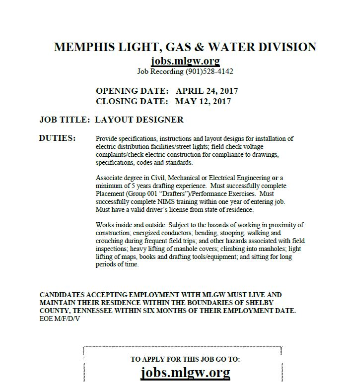 Layout Designer With Mlgw Job Career News From The Memphis