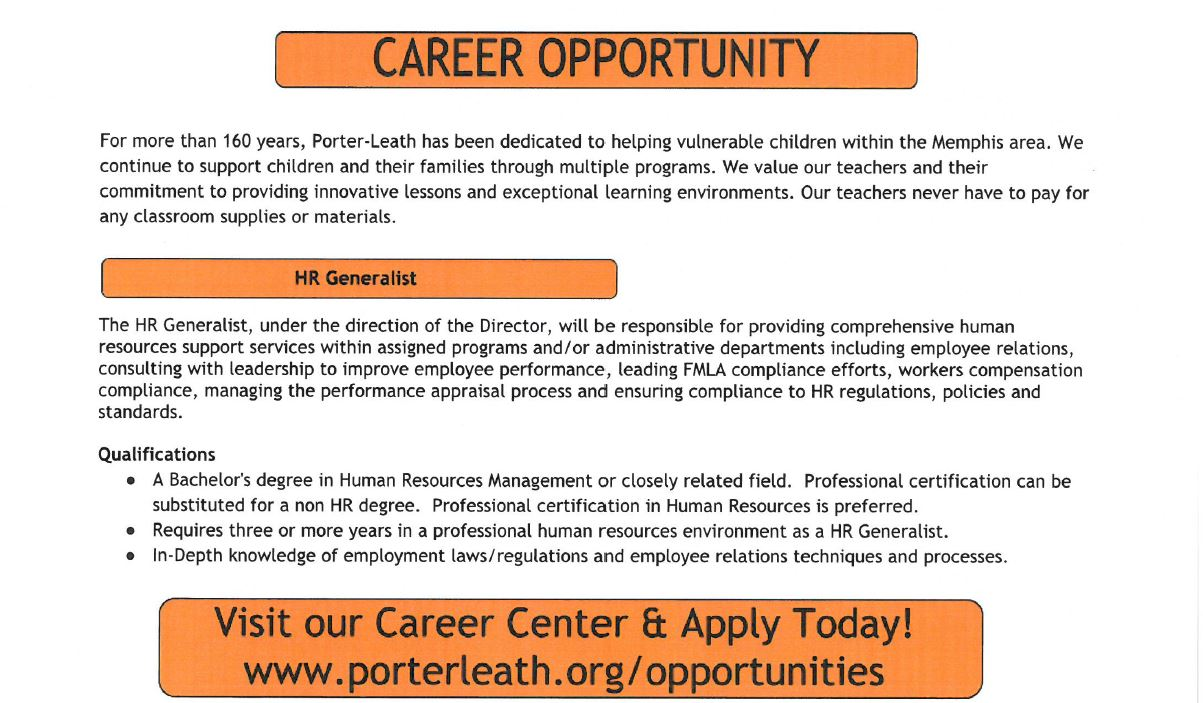 Porter Leath Looking For Hr Generalist Job Career News From The