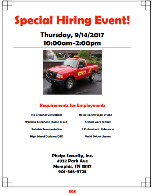 Phelps September Hiring Event 9-14