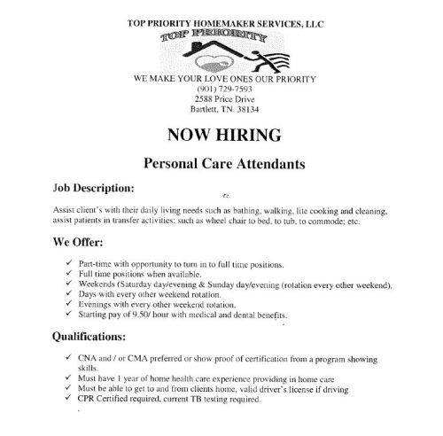 Personal Care Attendant Positions Job Career News From The