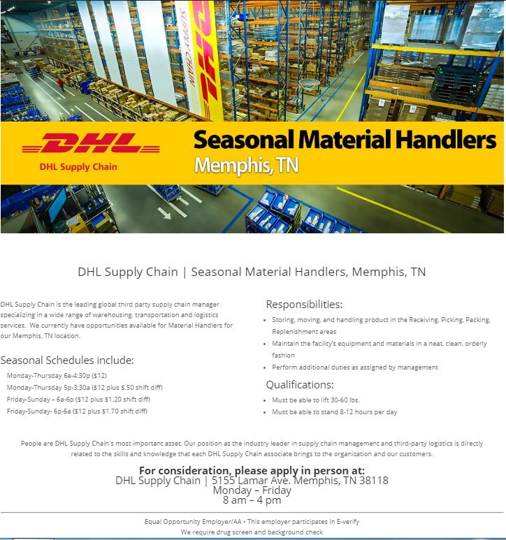 Material Handlers Dhl Supply Chain Job Amp Career News