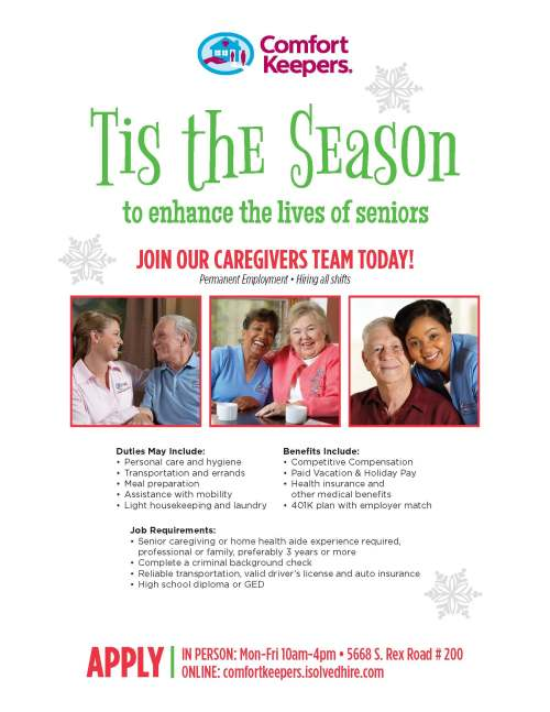 Holiday Caregivers flyer comfort keepers