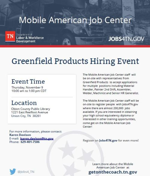 Greenfield Products Hiring Event November 9 | Job & Career