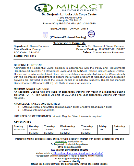 Supervisor of Dorm Life – MINACT/Job Corps   Job & Career News from ...
