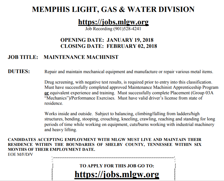 maintenance machinist mlgw job career news from the memphis public libraries