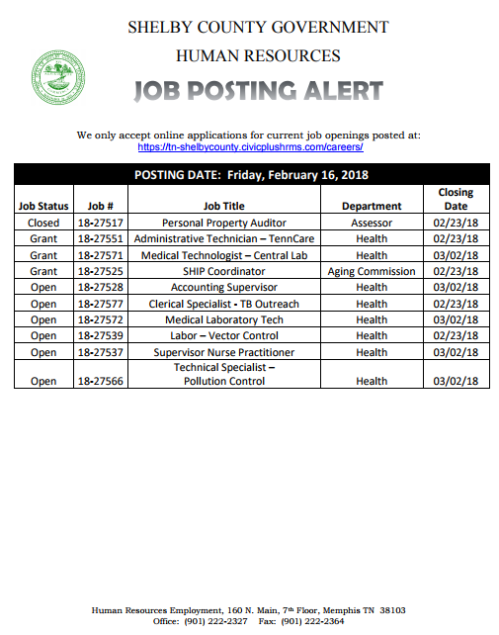 Shelby County Government Job Postings | Job & Career News from the ...