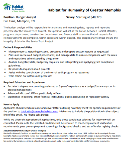 Habitat for Humanity Budget Analyst