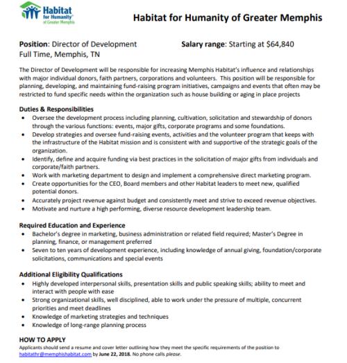Habitat for Humanity Budget Development